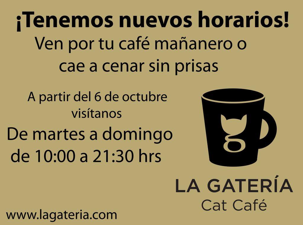 nuevos horarios cat café La Gatería